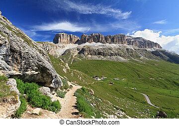Sella mount and Pordoi pass