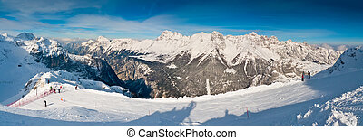 Panoramic view from Canin over Sella Nevea and Montasio, Friuli, Italy
