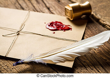 Sellador, estampilla,  metal, sobre, Primer plano, pluma, rojo