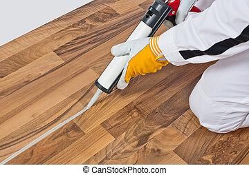 sellador, viejo, piso, silicona, trabajador, de madera,...