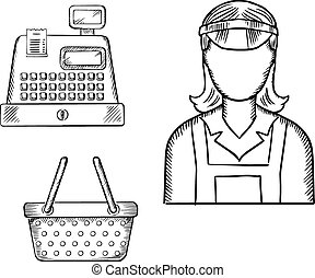Seller, cash register and shopping cart sketches - Female...
