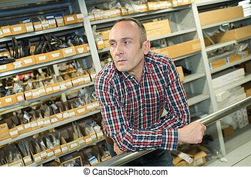 seller in hardware store