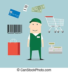 Seller profession and retail icons including a bag, till or cash register, credit card payment, bar code and bag of groceries around a shop seller
