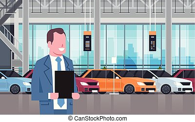 Seller Man In Cars Dealership Center Showroom Interior Over Set Of New Modern Vechicles