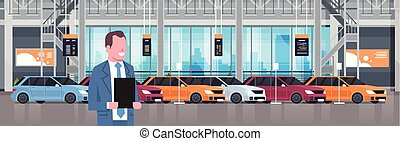 Seller Man In Cars Dealership Center Showroom Interior Over Set Of New Modern Vechicles Horizontal Banner