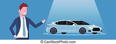 Seller Man Present New Car Dealership Center Showroom...