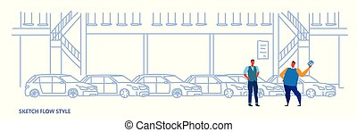 seller man with buyer car purchase sale or rental concept cars dealership center showroom building interior sketch flow style full length horizontal banner vector illustration