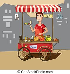 Seller street food cart, delicious juicy burger with ingredients, in package, vector, illustration, isolated