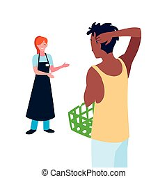 seller woman with customer holding basket