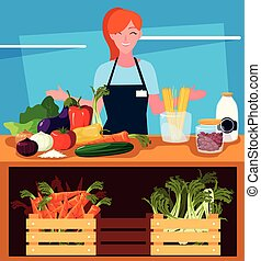 seller woman with products fruits and vegetables