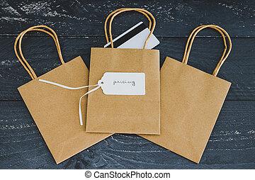 seller's, étiquette prix, sacs provisions, reussite, texte, paiement, les, établissement des prix, une, groupe, carte, concept