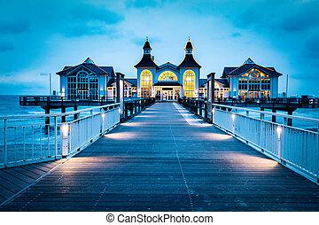 Sellin pier, Ruegen island, Germany at night. Travel destination