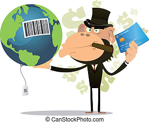 Illustration of a funny cartoon gorilla businessman crook buying and selling earth with credit card