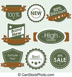 illustration of set of selling badge for sale, discount and off