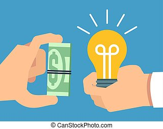 Selling ideas for money, creative thinking and money flat vector illustration
