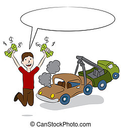 Selling Old Car - An image of a man selling his old car to a...