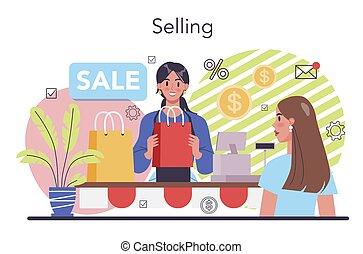 Selling process concept. Entrepreneurship organization. Idea of business