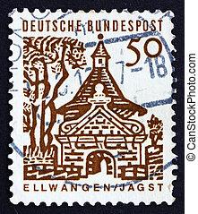 sello, alemania, 1964, castillo, puerta, ellwangen