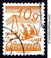 sello, austria, 1925, campos, cruzado, por, alambres del telégrafo