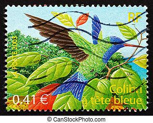 sello, blue-headed, francia, 2003, colibrí, pájaro