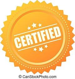 sello, certificado, oro, icono