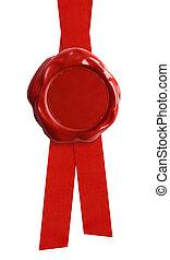 sello, cinta, aislado, rojo, cera