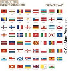 sello, con, europa, flags., conjunto, de, 62, europeo, flag.