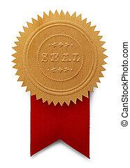 sello, con, grande, cinta roja