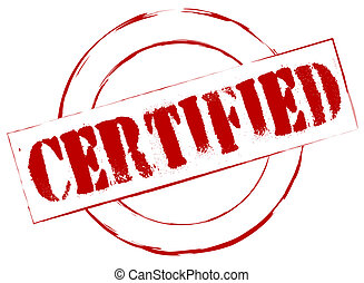sello de goma, certificado