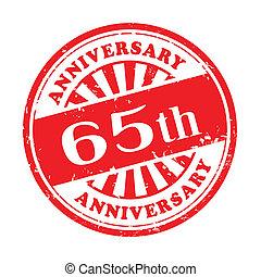 sello de goma, grunge, aniversario, 65th