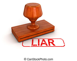sello de goma, mentiroso