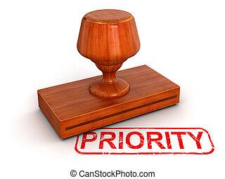 sello de goma, prioridad