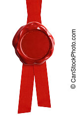 sello de lacrar, con, cinta roja, aislado