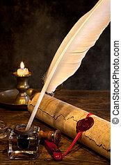 sello de lacrar, y, pluma de remera