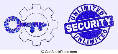 sello, engranaje azul, seguridad, opciones, angustia, llave...