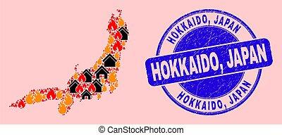 sello, fuego, hokkaido, isla de honshu, composición, mapa, ...