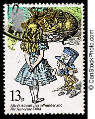 sello, gran bretaña, mundo maravilloso, alice