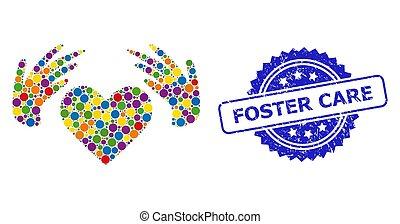 sello, grunge, foster, coloreado, cuidado, mosaico, amor, ...
