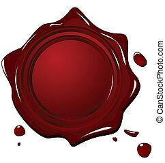 sello, grunge, rojo, ilustración, cera