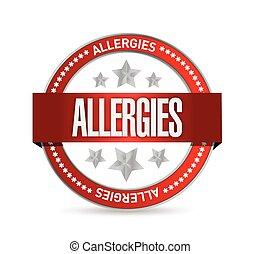 sello, ilustración, alergias, diseño