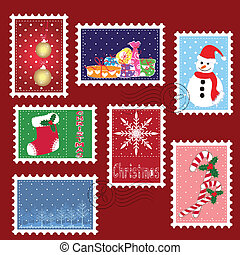 sello, invierno, navidad, conjuntos