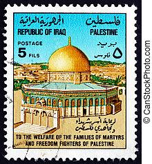 sello, irak, 1977, cúpula piedra, jerusalén