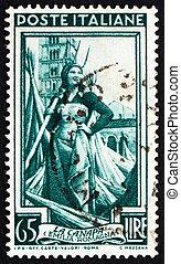 sello, italia, 1950, niña, trabajador, en, cáñamo, campo