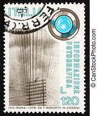 sello, italia, 1978, alambres del telégrafo, y, lente