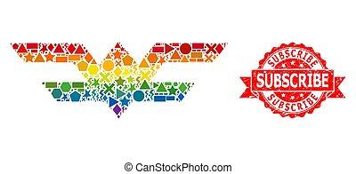 sello, mosaico, grunge, geométrico, símbolo, espectro, ...