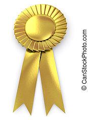 sello oro, con, cinta, -, aislado, blanco