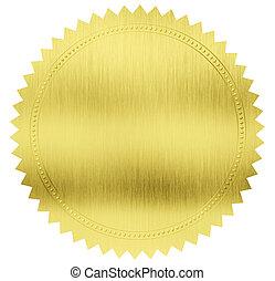 sello oro, etiqueta, con, ruta de recorte, included