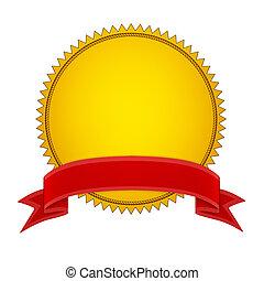 sello oro, stamper, con, cinta roja