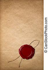 sello, papel, viejo, rojo, cera