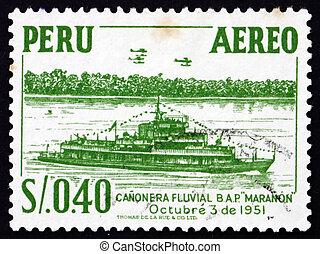 sello, perú, 1951, río, cañonero, maranon